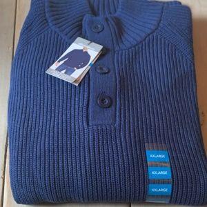 Eddie Bauer Men's XXL NWT Blue Qtr Button Sweater